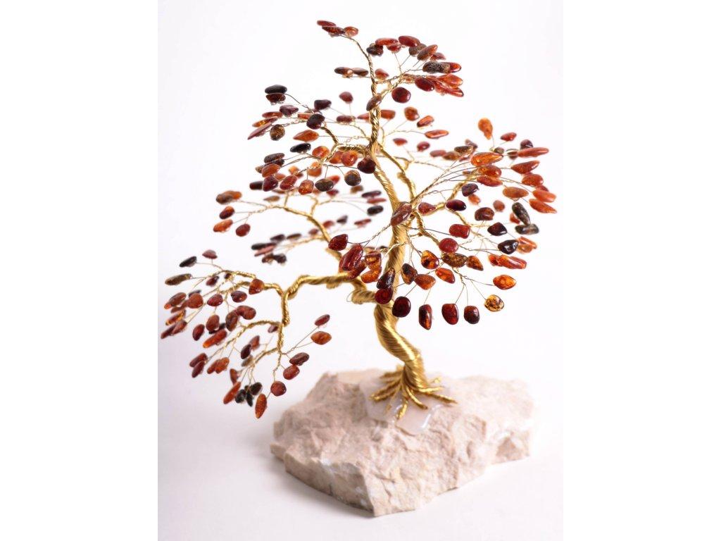 Jantarový stromeček štěstí 22 cm #52