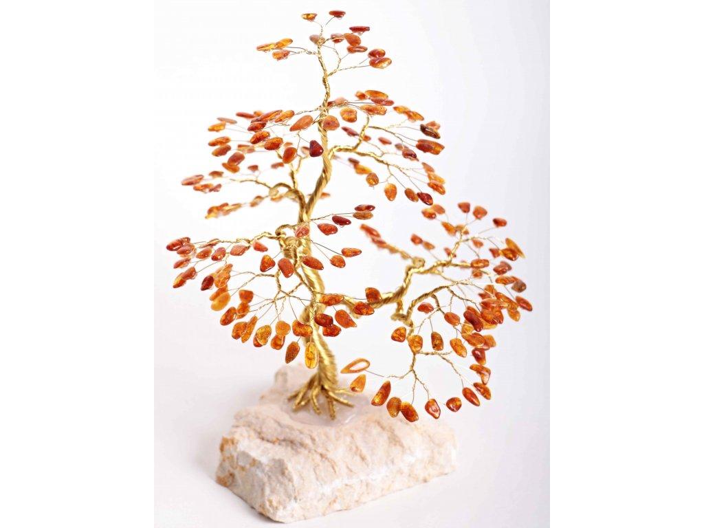 Jantarový stromeček štěstí 22 cm #54