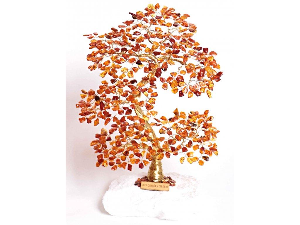 Jantarový stromeček štěstí 35 cm + dárkové balení #62
