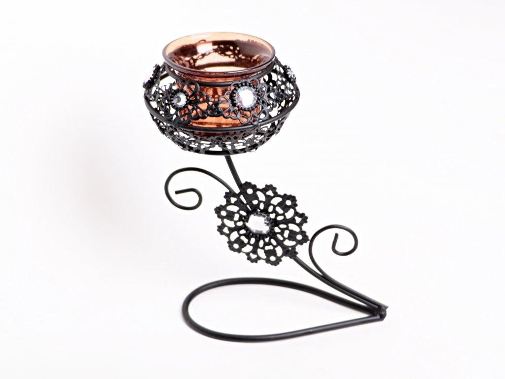 Svícen na 1 svíčku - kovový zdobený 18 cm #25