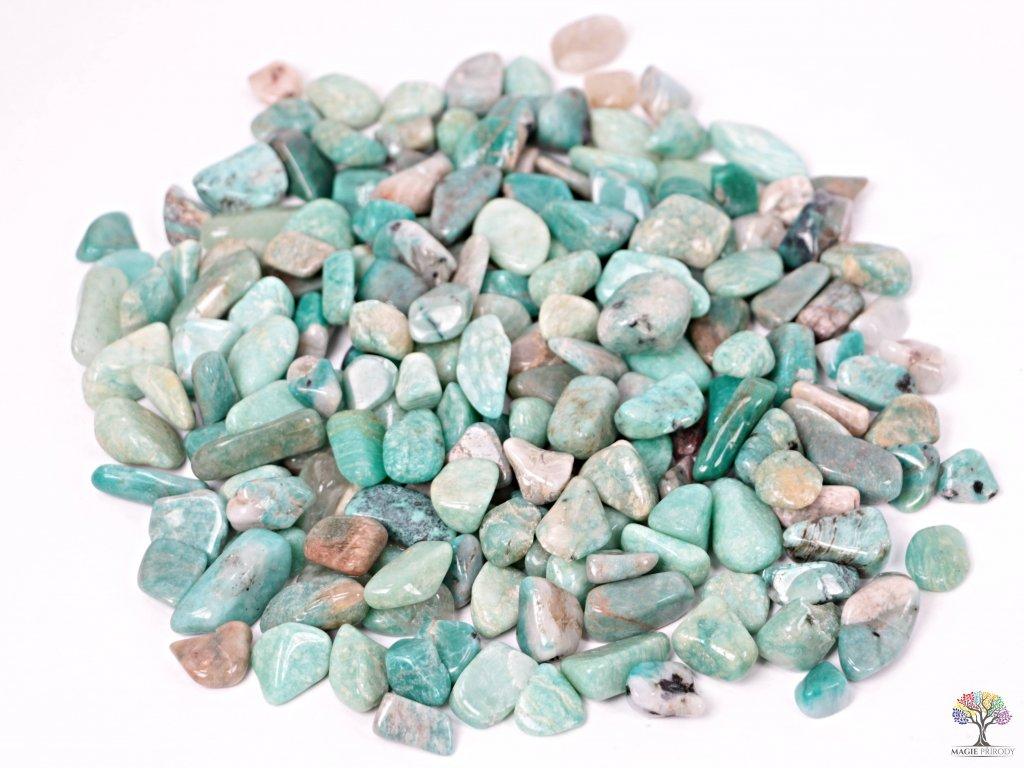 Tromlované kamínky Amazonit S - kameny o velikosti 15 - 25 mm - 100g - Brazílie