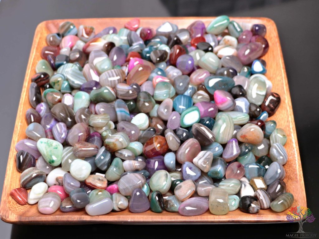 Tromlované kamínky Achát MIX - M - kameny o velikosti 20 - 40 mm - 1kg - Brazílie