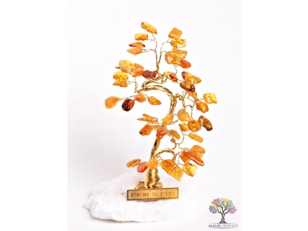 Jantarový stromeček štěstí 13 cm - B0 - #66  + sleva 5% po registraci na většinu zboží + dárek k objednávce