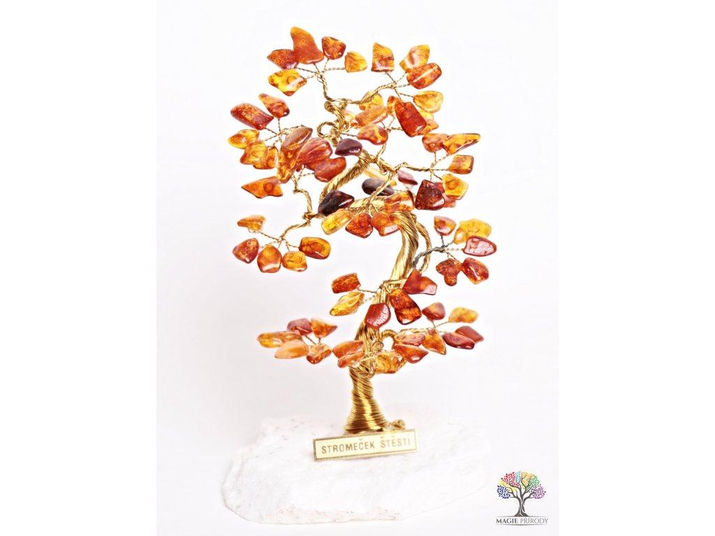 Jantarový stromeček štěstí 16 cm - B1 - #71