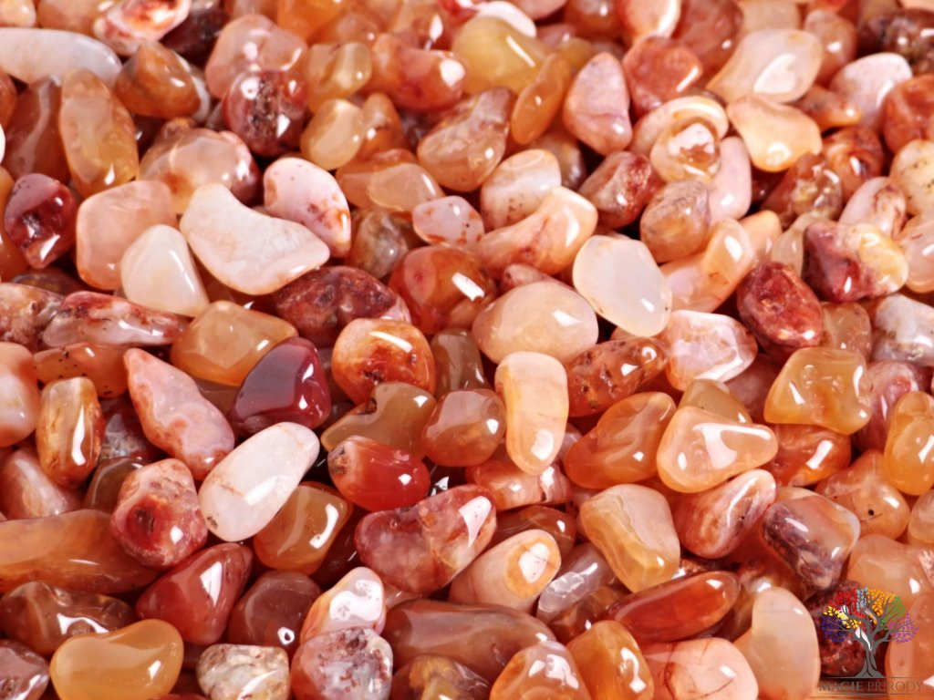Tromlované kamínky Karneol M o velikosti 20 - 40 mm - 100g - Brazílie  + až 10% sleva po registraci