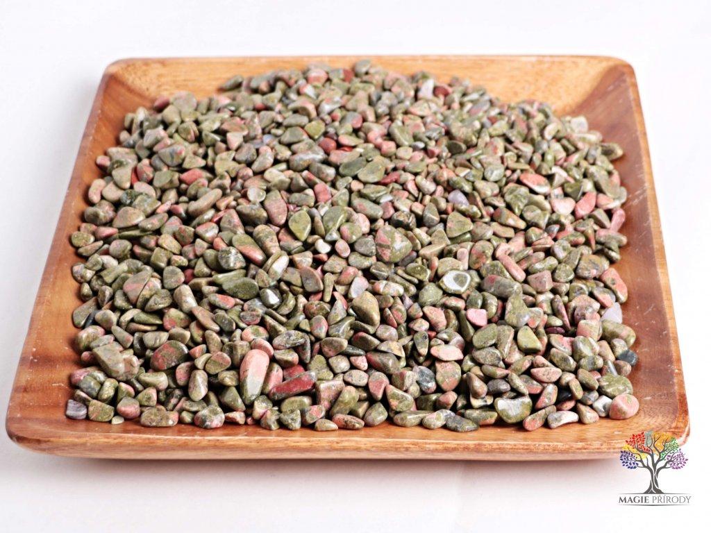 Tromlované kamínky Unakit S - kameny o velikosti 15 - 25 mm - 100 g - Brazílie  + až 10% sleva po registraci