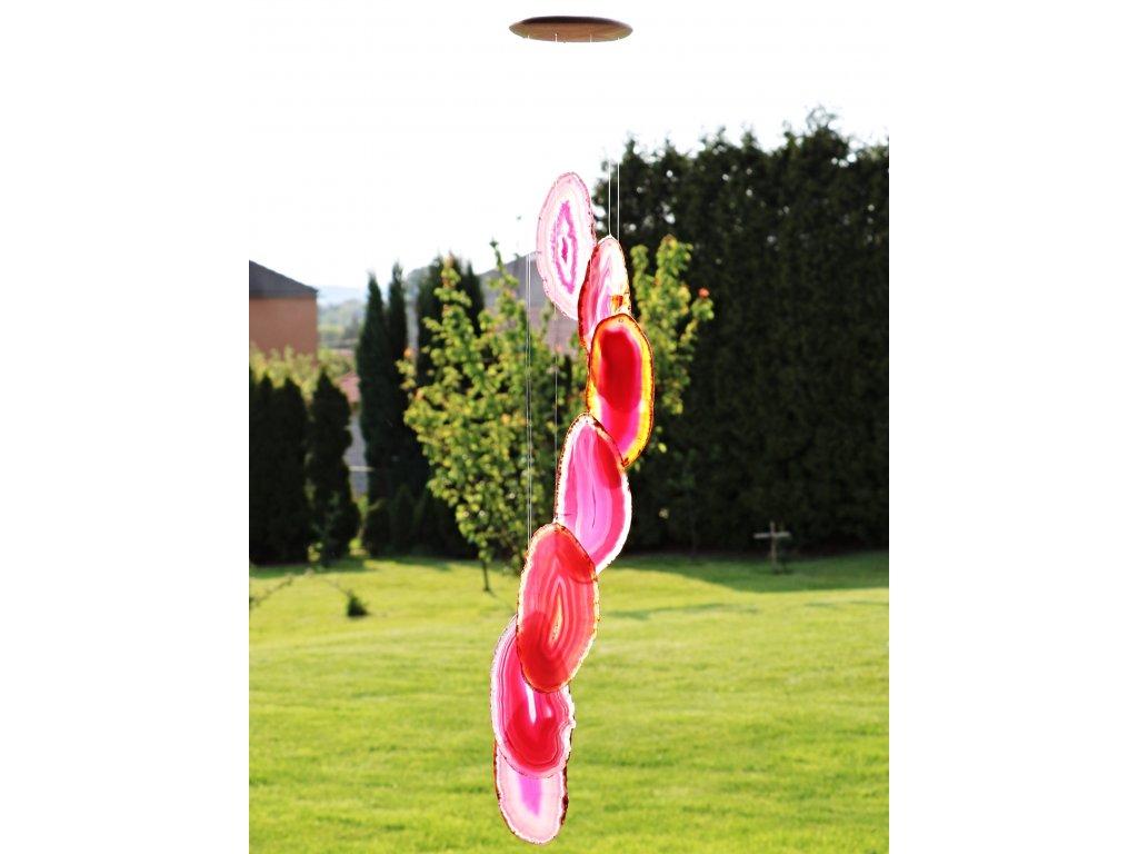 Achátová zvonkohra růžová - z přírodního kamene #04 - náhodný výběr