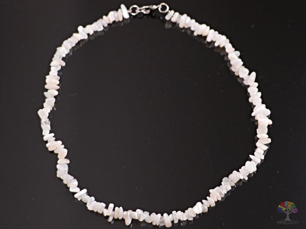 Náhrdelník sekaný - Měsíční kámen šedý - tromlovaný - 70