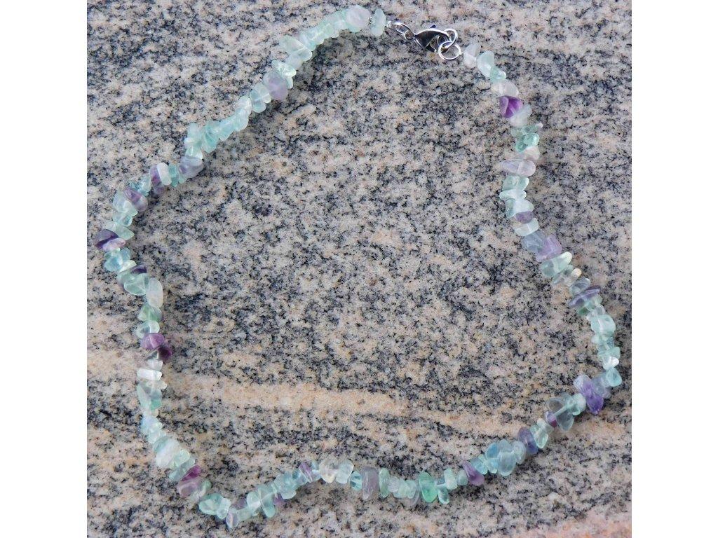 Náhrdelník sekaný - Fluorit duhový - tromlovaný - 29