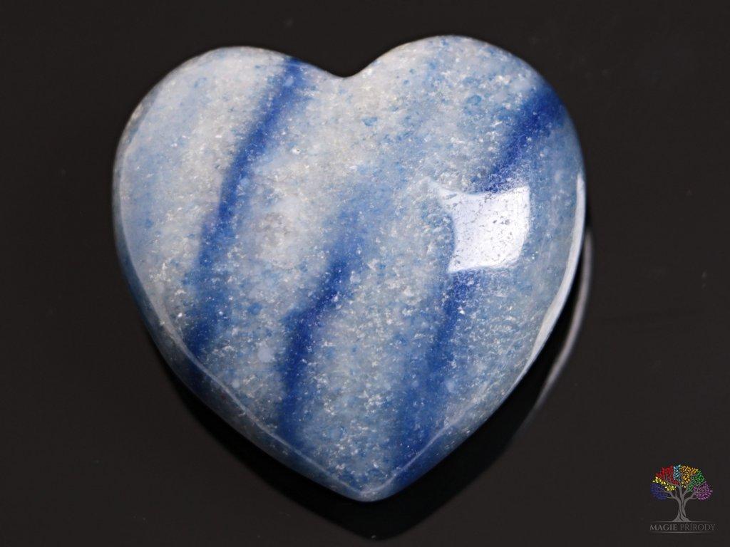 Srdce Modrý Křemen 40x40 mm - srdce z Křemene #01  + sleva 5% po registraci na většinu zboží + dárek k objednávce