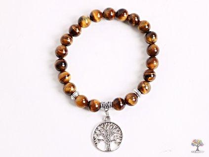 Náramek Tygří oko- 8 mm kuličky tygří oko - strom života - z přírodních kamenů - 142