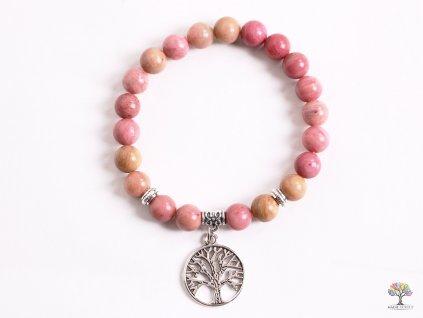 Náramek Rodonit - 8 mm kuličky rodonitu- strom života - z přírodních kamenů - 151  + sleva 5% po registraci na většinu zboží + dárek k objednávce