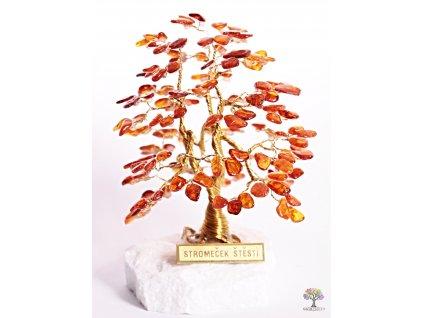 Jantarový stromeček štěstí 12 cm - A1 - #111