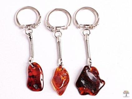 Přívěsek na klíče kámen Jantar - tmavý #158 - klíčenka