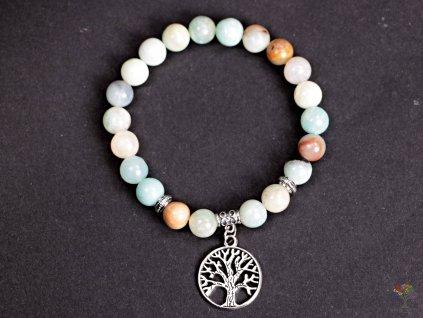 Náramek Amazonit barevný - 8 mm kuličky amazonitu #159 - strom života - z přírodních kamenů