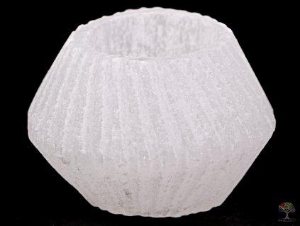 Svícen na svíčku - Soudek rýhovaný bílý - Selenit přírodní #06  + sleva 5% po registraci na většinu zboží + dárek k objednávce