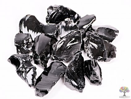 Obsidián Černý surový 5 - 10 cm - TOP kvalita 500g