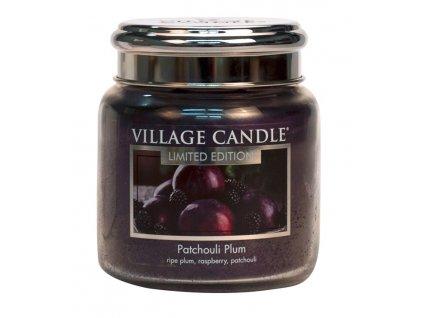 village candle vonna svicka ve skle svestka a paculi patchouli plum 16oz