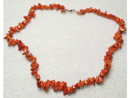 Náhrdelník sekaný - Jaspis červený - tromlovaný - 32