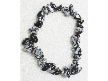 Náramek sekaný - Obsidián - tromlovaný - 51