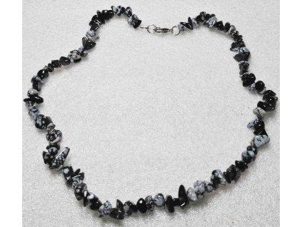 Náhrdelník Obsidián tromlovaný #25 - z přírodních kamenů