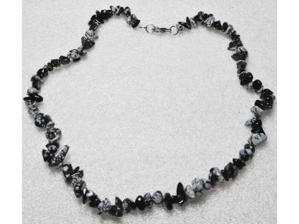 Náhrdelník sekaný - Obsidian - tromlovaný