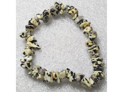 Náramek sekaný - Jaspis dalmatin - tromlovaný - 39