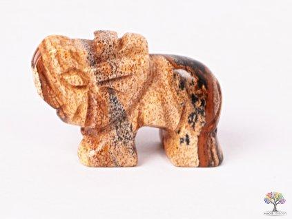 Slon Jaspis obrázkový 30 x 20 mm - Slon z přírodního kamene #01  + až 10% sleva po registraci