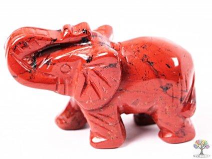 Slon Jaspis červený 50 x 35 mm - Slon z přírodního kamene #05  + sleva 5% po registraci na většinu zboží + dárek k objednávce