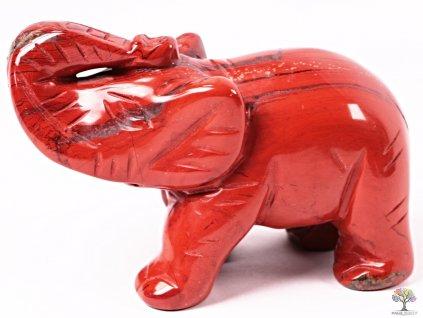 Slon Jaspis červený 80 x 50 mm - Slon z přírodního kamene #06  + až 10% sleva po registraci