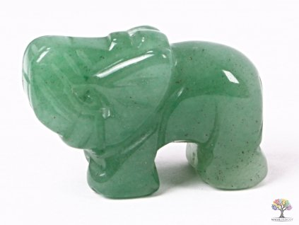 Slon Avanturin zelený 30 x 20 mm - Slon z přírodního kamene #07  + sleva 5% na vše po registraci