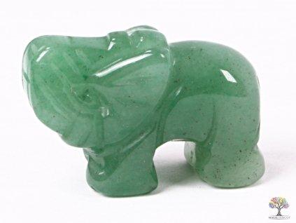 Slon Avanturin zelený 30 x 20 mm - Slon z přírodního kamene #07