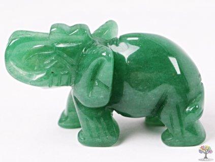 Slon Avanturin zelený 50 x 35 mm - Slon z přírodního kamene #08  + až 10% sleva po registraci