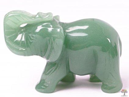Slon Avanturin zelený 80 x 50 mm - Slon z přírodního kamene #09  + až 10% sleva po registraci
