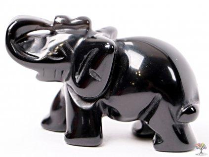 Slon Obsidián 50 x 35 mm - Slon z přírodního kamene #20  + sleva 5% na vše po registraci