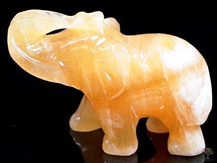 Slon Kalcit žlutý 50 x 35 mm - Slon z přírodního kamene #26