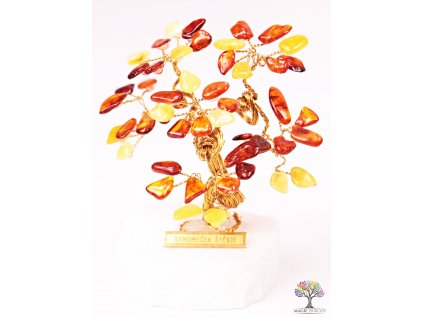 Jantarový stromeček štěstí 9 cm - R3 - #152