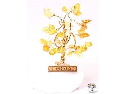 Jantarový stromeček štěstí 6 cm - R0 - #171  + až 10% sleva po registraci