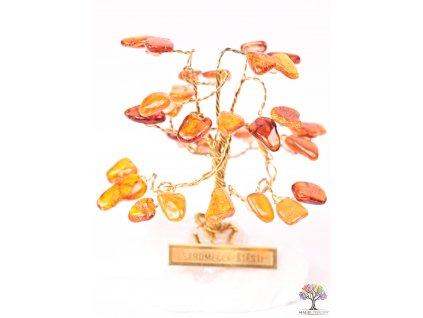 Jantarový stromeček štěstí 6 cm - R0 - #172