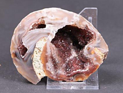 Achát peříčkový 8 cm - geoda - Top kvalita - #248