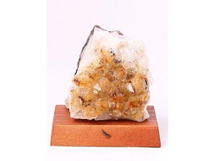 Citrín drúza na dřevěném podstavci - Top kvalita - 0.300 Kg #148  + sleva 5% po registraci na většinu zboží + dárek k objednávce