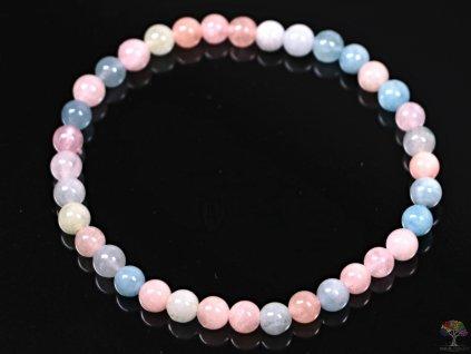 Náramek Morganit - 5 mm kuličky #181 - Beryl růžový smaragd - z přírodních kamenů  + až 10% sleva po registraci