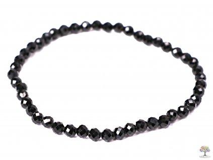 Náramek Turmalín černý - 4 mm - fazetovaný #186 - z přírodních kamenů  + sleva 5% na vše po registraci