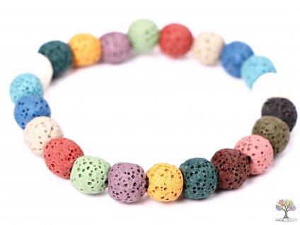 Náramek Láva MIX - 8 mm kuličky #191 - z přírodních kamenů - dobarveny  + sleva 5% po registraci na většinu zboží + dárek k objednávce