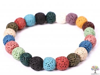 Náramek Láva MIX - 10 mm kuličky #192 - z přírodních kamenů - dobarven  + sleva 5% po registraci na většinu zboží + dárek k objednávce