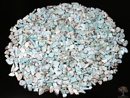 Tromlované kamínky Larimar XXS - kameny o velikosti 3 - 8 mm - 100g - Dominikánská republika  + sleva 5% po registraci na většinu zboží + dárek k objednávce