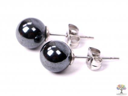 Náušnice z kamene Hematit 8 mm kuličky #08  + sleva 5% po registraci na většinu zboží + dárek k objednávce
