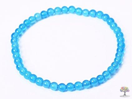 Náramek Achát modrý světlý - 4 mm kuličky #85 - z přírodních kamenů