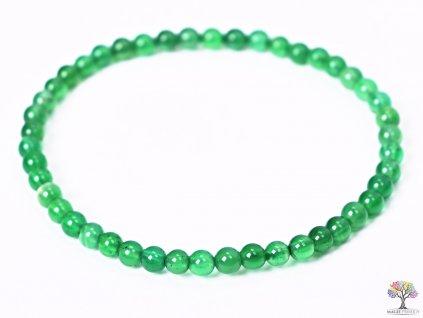 Náramek Achát zelený - 4 mm kuličky #104 - z přírodních kamenů