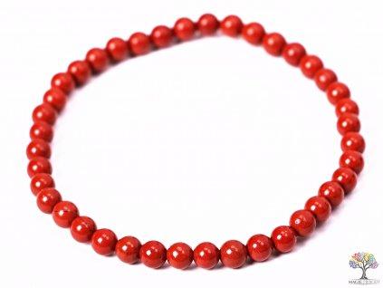 Náramek Jaspis červený - 4 mm kuličky #105 - z přírodních kamenů